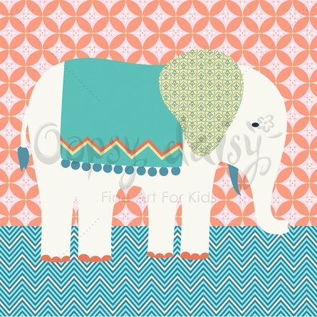 Circus Elephant Canvas Wall Art