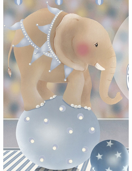 Circus Elephant Spectacular Wall Hanging in Circus Blue