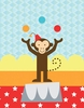 Circus Tricks - Monkey Canvas Wall Art