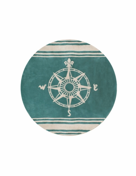 Classic Compass Rug in Teal