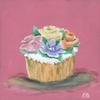 Classic Cupcake Party Flowers Canvas Reproduction