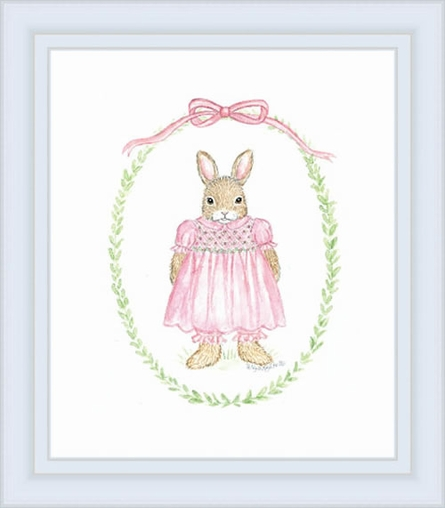Classic Girl Bunny Framed Lithograph