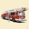 Classic Red Fire Engine Mural Wall Decal