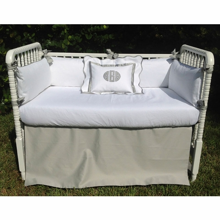 Classic Sateen Grey and White Crib Bumper