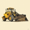 Classic Yellow Bulldozer Mural Wall Decal