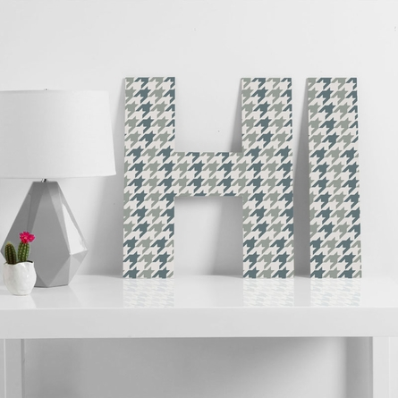 Classy Blue Houndstooth Decorative Letters
