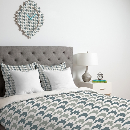 Classy Blue Houndstooth Duvet Cover
