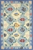 Coastal Blue Fish Rug