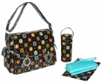 Coated Double Buckle Diaper Bag in Chocolate Doodle Bugs
