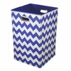 Cobalt Chevron Canvas Laundry Bin