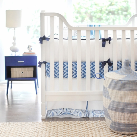 Cobalt Moon Crib Skirt
