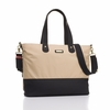 Color Block Tote Diaper Bag in Champagne and Black