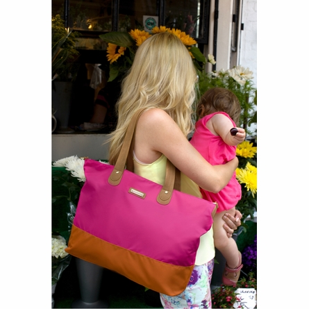 On Sale Color Block Tote Diaper Bag in Fuchsia & Orange