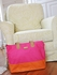 Color Block Tote Diaper Bag in Fuchsia & Orange