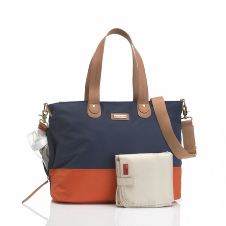 Color Block Tote Diaper Bag in Navy and Orange