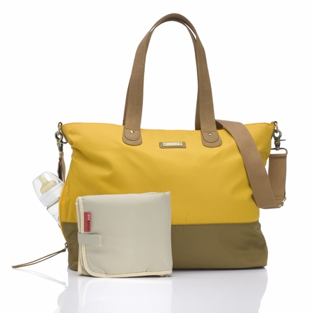 Color Block Tote Diaper Bag in Yellow & Tan