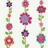 Colorful Flower Garden Stripe Wallpaper