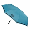 Compact Monogrammed Umbrella in Light Blue with Brown Trim