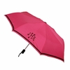 Compact Monogrammed Umbrella in Pink with Brown Trim