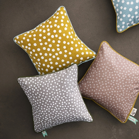 Confetti Dots Throw Pillow in Rose