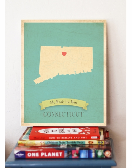 Connecticut My Roots State Map Art Print