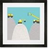 Construction Diggers Framed Art Print