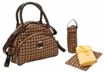 Continental Flair Diaper Bag in Herringbone Bronze