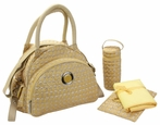 Continental Flair Diaper Bag in Herringbone Gold