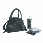 Continental Flair Diaper Bag in Herringbone Silver