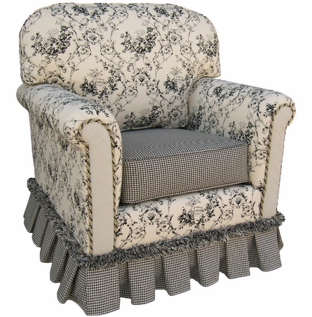 Continental Rocker Glider - Toile Black
