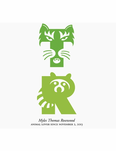 Cool Animal Monogram Personalized Art Print