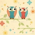 Coral and Blue Owls on a Branch Canvas Wall Art