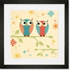 Coral and Blue Owls on a Branch Framed Art Print