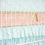 Coral and Gold Sparkle Crib Sheet