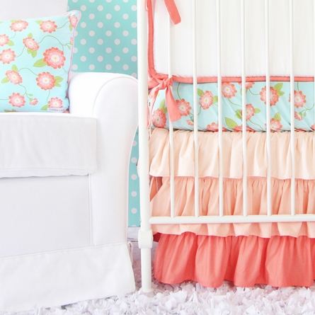 Coral Floral Crib Bedding Set