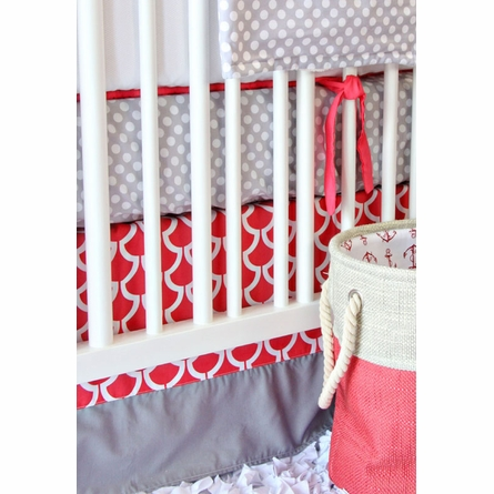 Coral & Gray Crib Bedding Set