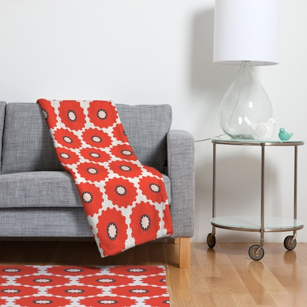 Coral Pop Fleece Throw Blanket