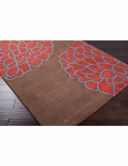 Coral Red Flower Rug