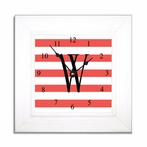 Coral Stripe Wall Clock in Wide Frame