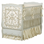 Cottage Crib in Reef Blue, Linen and Gold with Verona Motif