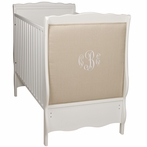 Cottage Upholstered Crib in Snow and Sawyer Fabric with Custom Monogram Embroidery