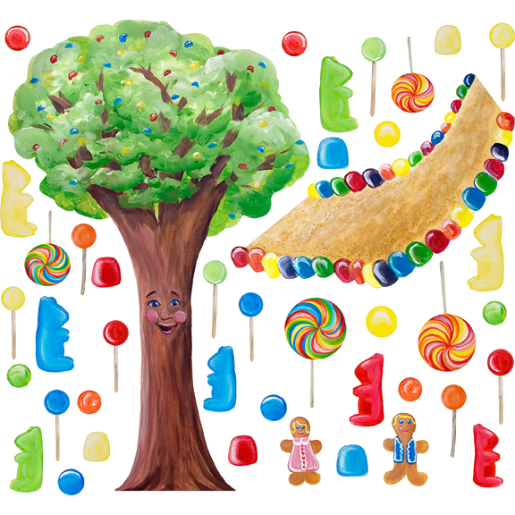 Theme rooms with murals custom hand painted wall murals by art - Cotton Candy Land Whimsical Tree Wall Stickers