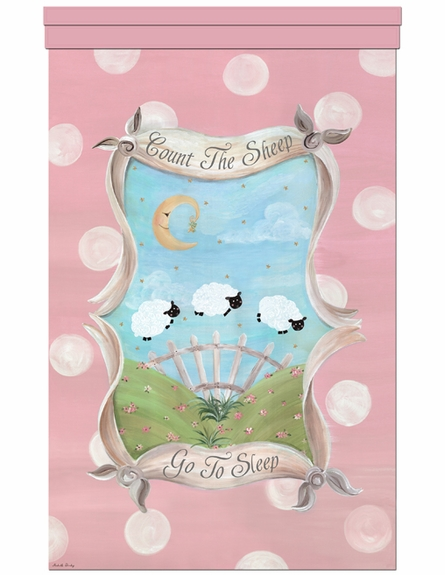 Count the Sheep Sleep Personalized Wall Hanging in Blush Pink