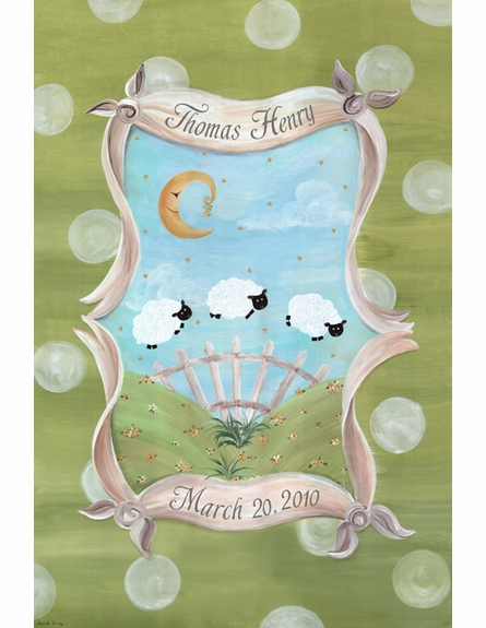 Count the Sheep Sleep Personalized Wall Hanging in Meadow Green