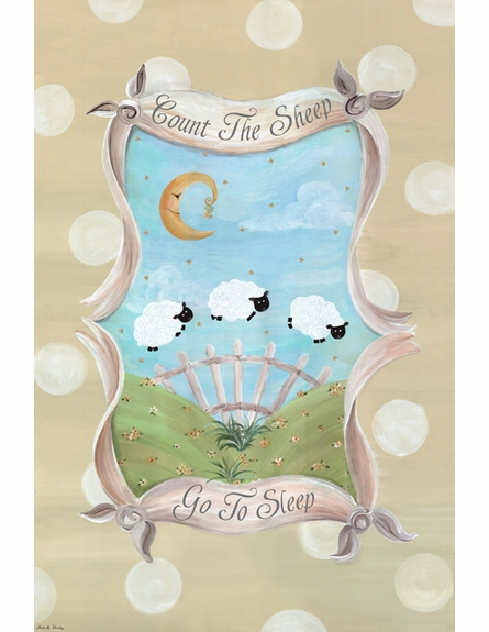 Count the Sheep Sleep Personalized Wall Hanging in Sandy Beige