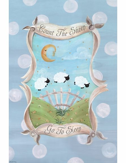 Count the Sheep Sleep Personalized Wall Hanging in Sky Blue