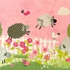 Counting Sheep in Pink Canvas Wall Art