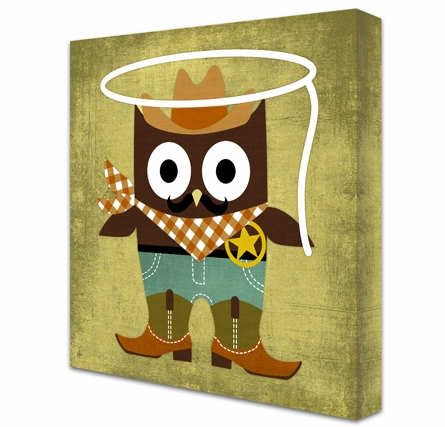 Cowboy Owl Canvas Reproduction