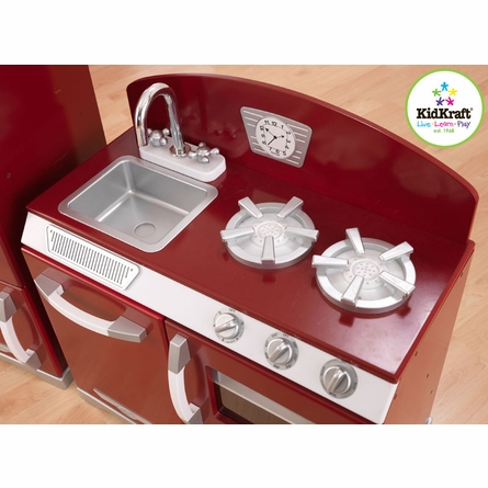 Cranberry Two Piece Retro Play Kitchen and Refirgerator
