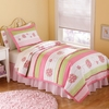 Crazy Pink Ladybug Quilt with Pillow Sham
